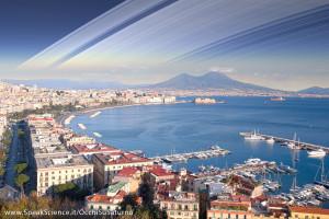 Il Golfo di Napoli, se la Terra avesse gli anelli come Saturno. Una creazione SpeakScience per OcchiSuSaturno 2015.