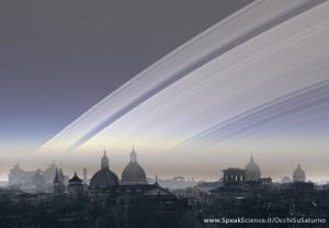 Una vista dei tetti di Roma, se la Terra avesse gli anelli come Saturno. Una creazione SpeakScience per OcchiSuSaturno 2015