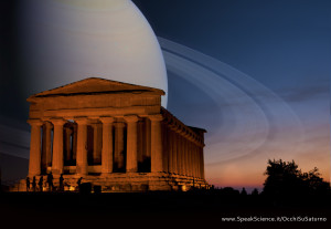 Una immagine di come apparirebbe la Valle dei Templi in Sicilia, se Saturno prendesse il posto della Luna. Una creazione SpeakScience per Occhi Su Saturno 2015. Immagine originale di  Michal Osmenda