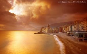 Una vista di Camogli, Liguria, se la Terra avesse una atmosfera densa e arancione come quella di Titano, la luna di Saturno. Una creazione SpeakScience per OcchiSuSaturno 2015